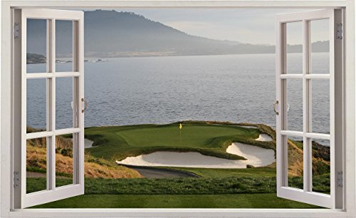 Window Landscape Scene Nature View PEBBLE BEACH GOLF COURSE HOLE 7
