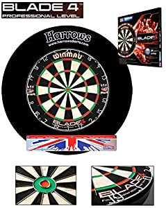 Starter-Dartset (Winmau Blade4-Bristle-Dartboard, HARROWS Board Surround black)
