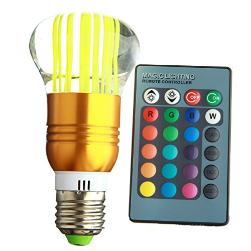 Ronshin New 3W E27 Rgb 16 Color Changing Led Crystal Spot Light Lamp Bulb Lighting Artificial Crystal Mushroom Shape+24 Key Ir Remote Controller Ba00753