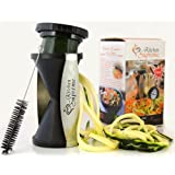 Kitchen Supreme Vegetable Spiralizer With Stainless Steel Japanese Blades For 2 Julienne Sizes.