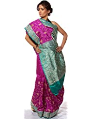 Exotic India Purple Banarasi Sari With Embroidered Paisleys And Brocade - Purple