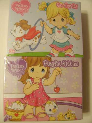 Precious Moments Mini Puzzle 2 Pack ~ Go For It & Playful Kittens (24 Pieces Each) - 1