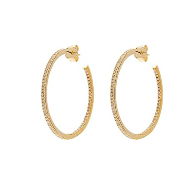 Leaf Circle of Life Small Hoop Earrings Gold Plated 925 Sterling Silver - Size approx. 35 mm
