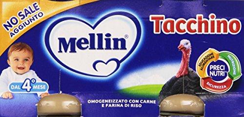 Mellin - Omogeneizzato, con carne e farina di riso, Tacchino - 160g