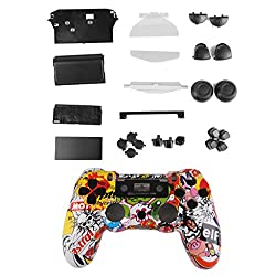 Generic Crazy Skull Controller Shell Housing Case Kit w/ Button for PlayStation4 PS4