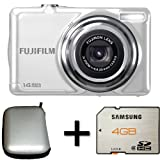 Fujifilm FinePix JV300 White + Case and 4GB Memory Card (14MP, 3x Optical Zoom) 2.7 inch LCD Screen