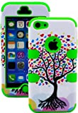 myLife (TM) Bright Green + Colorful Tree of Hearts 3 Layer (Hybrid Flex Gel) Grip Case for New Apple iPhone 5C Touch Phone (External 2 Piece Full Body Defender Armor Rubberized Shell + Internal Gel Fit Silicone Flex Protector + Lifetime Waranty + Sealed Inside myLife Authorized Packaging Only)