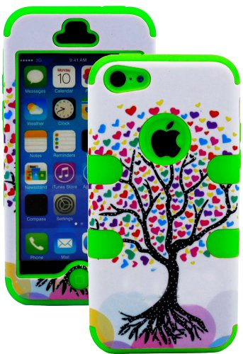 Mylife (Tm) Bright Green + Colorful Tree Of Hearts 3 Layer (Hybrid Flex Gel) Grip Case For New Apple Iphone 5C Touch Phone (External 2 Piece Full Body Defender Armor Rubberized Shell + Internal Gel Fit Silicone Flex Protector + Lifetime Waranty + Sealed I