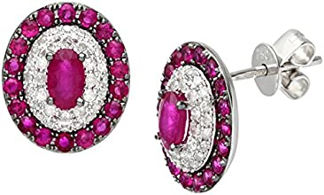 Naava 18ct White Gold 0.30ct Diamonds and Ruby Alternate Oval Stud Earrings