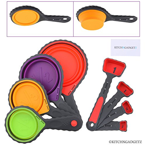 Set of 4 Collapsible Silicone Measuring Cups and 4 Measuring Spoons - Space Saving Design - Includes: 1/4 Tsp, 1/2 Tsp, 1 Tsp, 1 Tbsp, 1/4 cup, 1/3 cup, 1/2 cup, 1 cup - Easy to Clean/Dishwasher Safe (Foldable Pasta Spoon compare prices)
