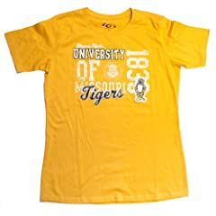 NCAA Licensed Missouri Mizzou Tigers Yellow Short Sleeve Ladies Shirt