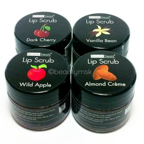 4pc-beauty-treats-lip-scrub-with-almond-creme-wild-apple-vanilla-bean-dark-cherry-all-4-full-set