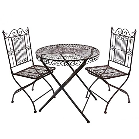 Salotto da giardino 2persone soggiorno di The Bistrot 1tavolo 2sedie in ferro marrone