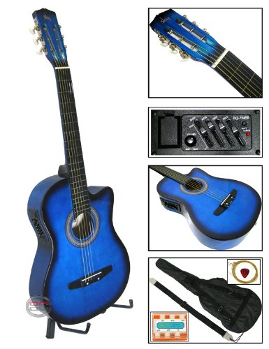 New Blue Electric Acoustic Guitar Cutaway Style W/ Accessories