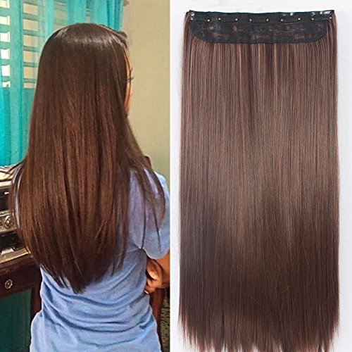 24-Un-clip-Piece-dans-les-extensions-de-cheveux-Ombre-dip-colorant-Chocolat-Raides-Marron