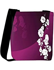 Snoogg Abstract Vector Wallpaper Of Floral Themes In Gradient Purple Womens Carry Around Cross Body Tote Handbag...