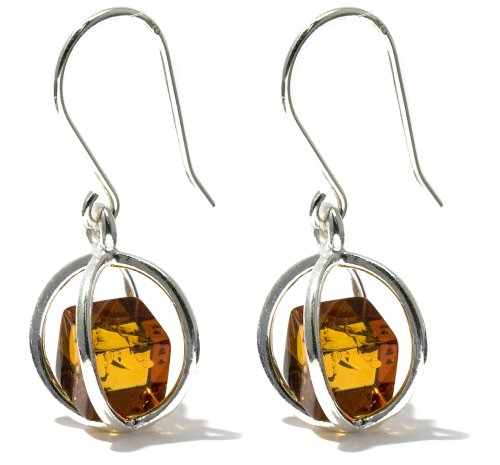 Sterling Silver Honey Amber Millennium Collection Spherical Earrings