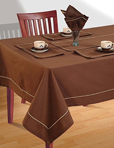 Shalinindia cotton brown color table linens set for 4 seat for Table runners 52 inches