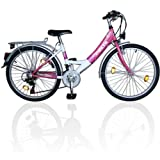 24 Zoll Kinderfahrrad 18-Gang Shimano Schaltung EU-Produkt Rosa-Weiss