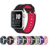 Pantheon Silicone Sport Band Compatible with Apple Watch 42mm - Strap for Women or Men - iWatch Bands Series 4 3 2 1 (Color: Black with Red, Tamaño: 42mm)