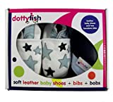 Dotty Fish Leather Baby Shoes Boys Pale Blue Star design Gift Boxed with two Bandana Bibs 18-24 mths