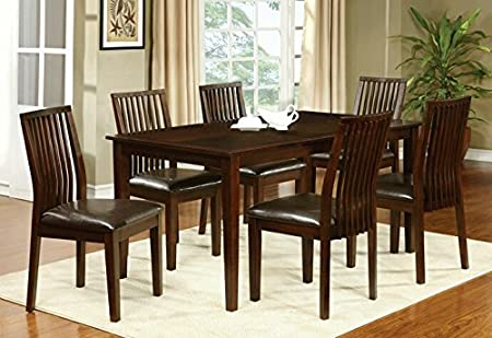 7 pc Reyes walnut finish wood transitional style dining table set with slatted back chairs