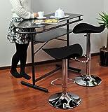 強化ガラストップカウンターテーブル & シンプルレザーバーチェア(2脚) 3点セット ブラック(黒)