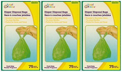 Angel of Mine: Diaper Disposal Sacks Bags (Scented to Neutralized Odors) 75 Count Per Box (Three Boxes) - 1