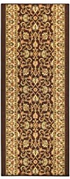 Custom Size Runner Brown Persian Mahal Traditional Non-Slip (Non-Skid) Rubber Back Stair Hallway Rug by Feet 22 Inch Wide Select Your Length 22in X 7ft