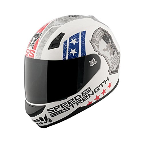 Speed and Strength Dogs of War Full Face SS700 Motorcycle Helmet (Matte Red/White/Blue, XX-Large)