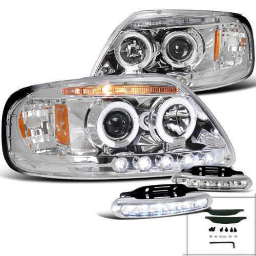 Ford F150 Chrome Halo Projector Headlights+Led Drl Driving Fog Lamps