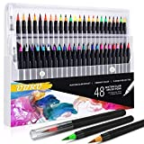 CAREPEN Watercolor Brush Pens, Set of 48 Watercolor Painting Markers and 2 Water Brush Pens, Flexible Nylon Brush Tips, Non-Toxic Ink, Suit for Adult and Kids Coloring Books, Drawing, Calligraphy (Color: 48)