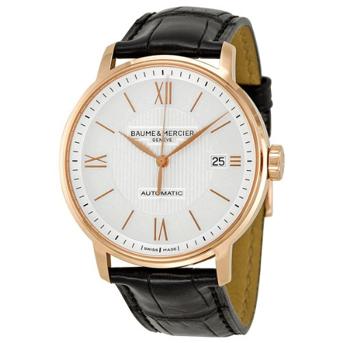 Baume and Mercier Classima Executives Silver Dial Leather Mens Watch MOA10037