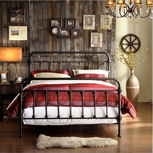 Giselle Antique Dark Bronze Graceful Lines Victorian Iron Metal Bed (Full Size) (Antique Full Size Bed compare prices)