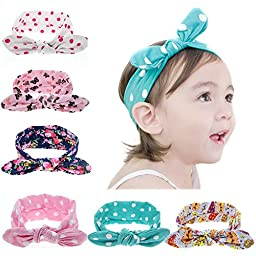 Kingyee Kids Baby Girl Headbands and Bows with Elastic Set of 6 100% Cotton for Girls