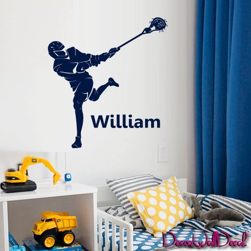 Wall Decal Lacrosse Helmet Personalized Custom Name Sport Player Kids Children Room Teens Kids Boys Girls Sticker Decor Art Gift Bedroom M1632 (Boy Personalized Wall Murals compare prices)
