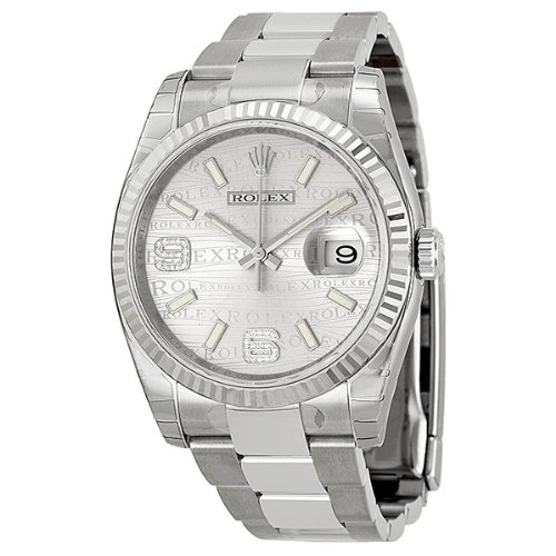 Rolex Datejust Automatic Silver Wave Jubilee Diamond Dial Stainless Steel Unisex Watch 116234SWJSDAO