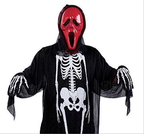 MADHERO Halloween Costume Vampire Death Skull Mask Fingernail Gloves Bone Suit