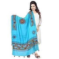 Banjara WomenS Cotton Stoles & Dupattas Kutchi Mirrorwork (Kch13 _Turquoise Blue _Handicraft Dupatta_Free Size)