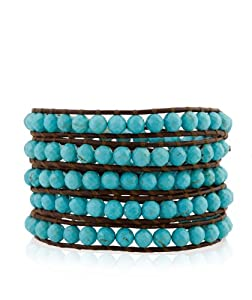 CHAN LUU Large Semi Precious Faceted Turquoise Wrap Bracelet on Brown Leather