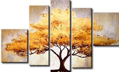 Cherish Art 100% Hand Painted Oil Paintings Elegant Golden Tree 5 Panels Wood Framed Inside For Living Room Art Work Home Decoration