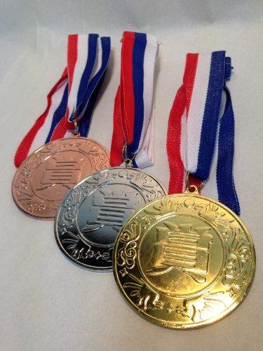 金メダリスト誕生!! 【 メダル 各種 金 銀 銅 セット 】ずっし~りと重い重量感のあるメダルです。 ※名前を書ける付属のシール付き (金銀銅3個セット)