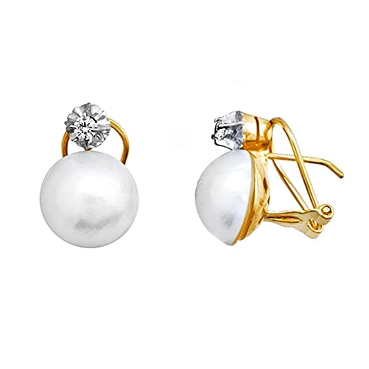 Japanese pearl earrings 18k gold 11.5mm. zirconia [AA5344]
