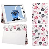 ITALKonline PADWEAR WHITE PINK FLOWERS Multi Function Multi Angle Luxury Executive Wallet Stand Cover Typing Case with Magnetic Sleep Wake Sensor Feature For Apple iPad Air (2013) (Wi-Fi and Wi-Fi + 3G) 16GB 32GB 64GB 128GB