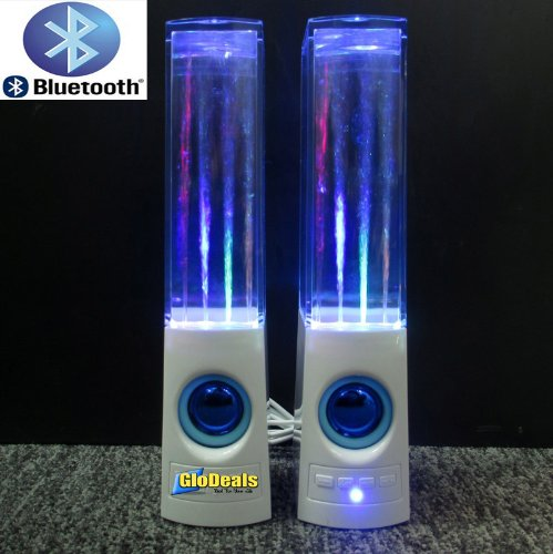 Glodeals(Tm) Rechargeable Bluetooth Water Dancing Speakers Music Fountain Mini Amplifier Muti-Colored Illuminated Speaker Universal Stereo Speakers For Pc Computers, Laptops, Smartphones, Ipod, Ipad, Tablets, Etc./Volume Adjust Button/Last And Next Button