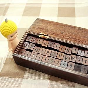42tlg stempel set box holz stempelset alphabet buchstaben for Stempel amazon
