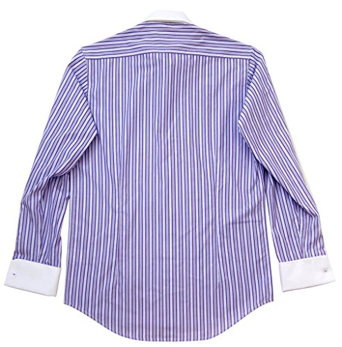 Labiyeur men 39 s slim fit french cuff striped dress shirt 17 for Purple striped dress shirt