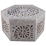 Freshings Gaurara Carved Hexagon Shape Box (Multi-Coloured, 12.6 Cm X 12.6 Cm X 7.6 Cm)
