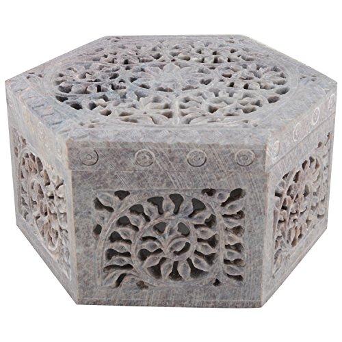 Freshings Gaurara Carved Hexagon Shape Box (Multi-Coloured, 12.6 Cm X 12.6 Cm X 7.6 Cm)