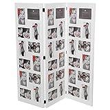 Paravent cadre photo pêle-mêle - Capacité 36 photos - Coloris BLANC